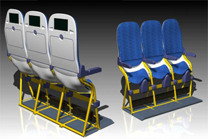 The Aviointeriors SkyRider seat offers a 23-inch pitch
