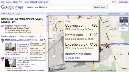 A new Google Maps feature displays aggregator prices in a drop-down box