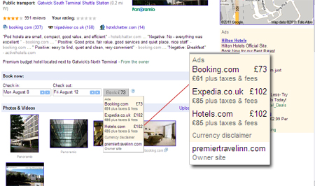 Google hotel review pages now feature a Book Now call to action