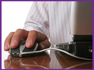 A man clicking a mouse